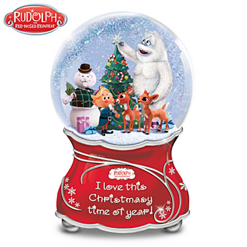 Bradford Exchange Rudolph The Red-Nosed Reindeer Musical Glitter Globe NIB