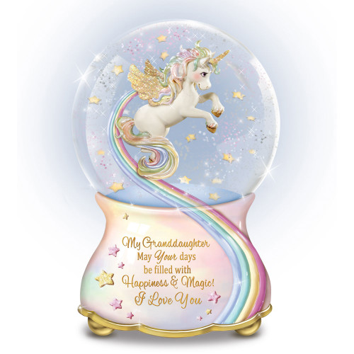 Bradford Exchange Grandaughter You Are Magical Unicorn Glitter Globe NEW