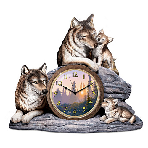 "Bradford Exchange Al Agnew ""Bonds Of Love"" Clock With Fully Sculpted Wolves"