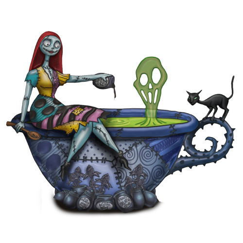Bradford Exchange Sally Glow-In-The-Dark Teacup Cheers to Fears Figurine