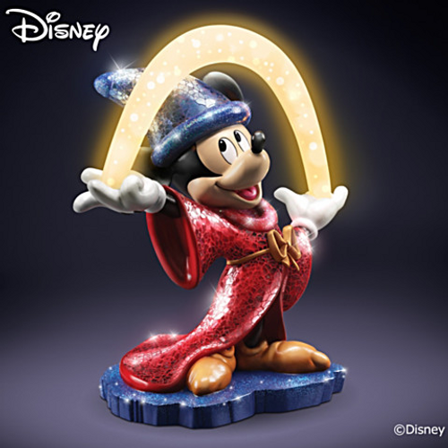 Bradford Exchange Mosaic Sorcerer's Apprentice Mickey Mouse With Lighted Arc