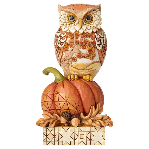 "Enesco Jim Shore Heartwood Creek Harvest Owl on Pumpkin Figurine, 6.1"", Multicolor"