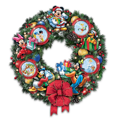The Bradford Exchange It's a Magical Disney Christmas Wreath with Character Ornaments: Lights Up