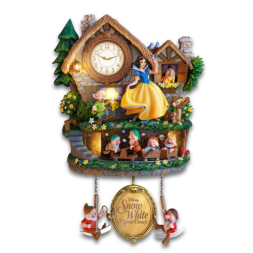 The Bradford Exchange Disney Snow White and The Seven Dwarfs Clock Lights Up with Music and Motion