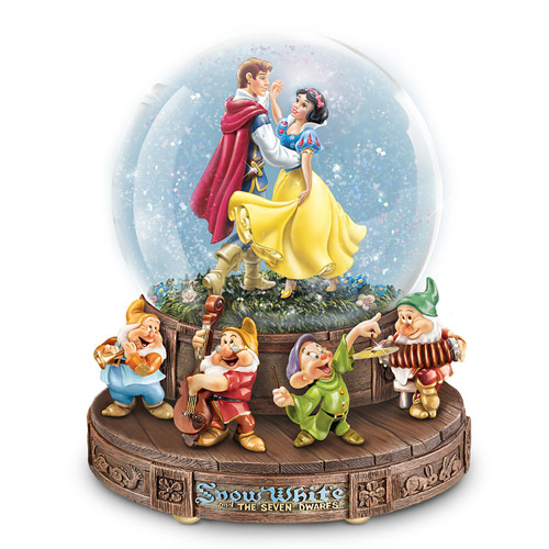 The Bradford Exchange Disney Snow White Musical Glitter Globe with The Seven Dwarfs on a Rotating Base