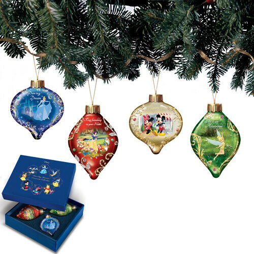 Bradford Disney Dazzling Dreams Glass Ornaments Mickey, Princesses, Tinkerbell