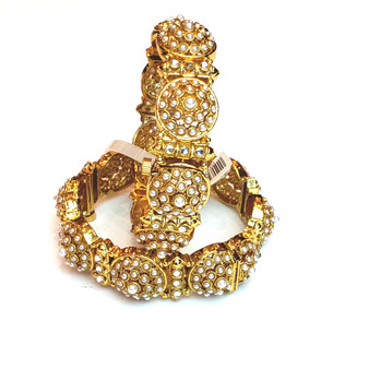 Pearl embedded Screw type Bangles. Sold as a Set (Pair)