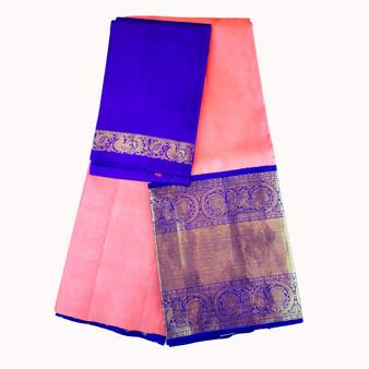 Kanchi- Half Saree set Peach/Royal