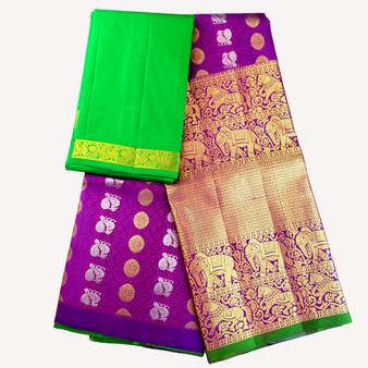 Kanchi- Half Saree set Purp/Green
