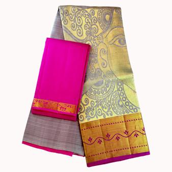 Kanchi- Half Saree set Grey/Pink