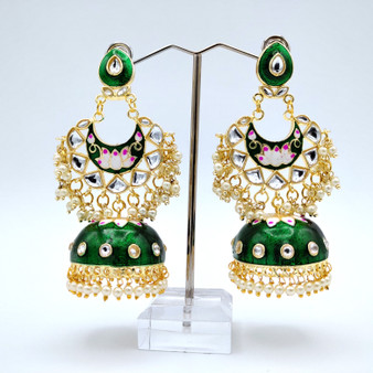 H. Painted Jhumka Green