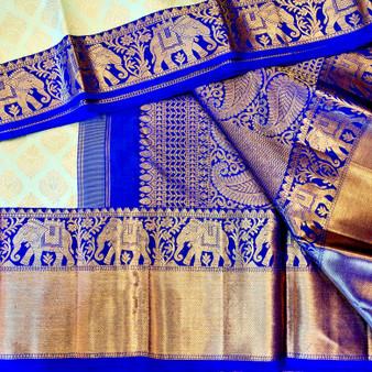 brocade Kanchipuram Mint / Royal