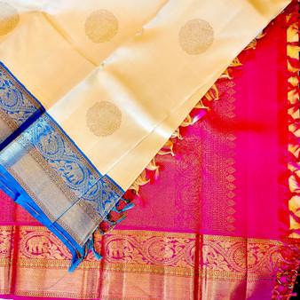 Kanchipuram Silk Bl/RE Ganga Jamuna