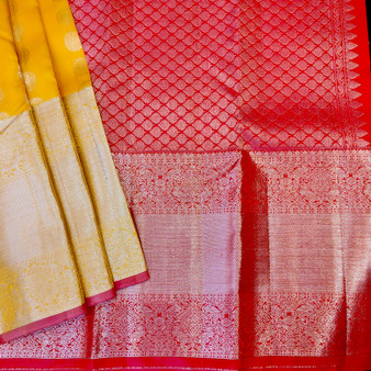 Kanchipuram Silk Contrst pink