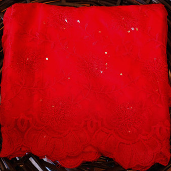 Lace Net Emb. red