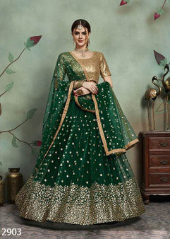 Green Net with Seq Blouse
