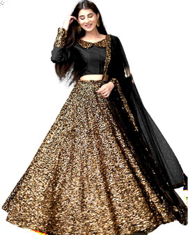 Full Seq Lehenga Gold