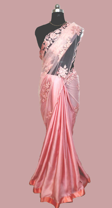 Satin/ Net Saree