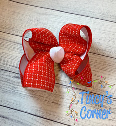Red White Stitched Squares with White Boutique Hair Bow