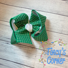 Green White Stitched Squares with White Boutique Hair Bow