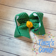 Green White Stitched Squares with Yellow Gold Boutique Hair Bow