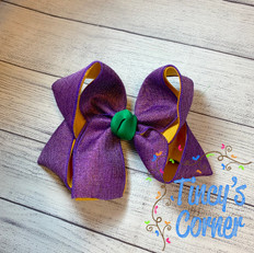 Purple Metallic Yellow Gold with Green Boutique Hair Bow