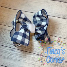 Navy Gingham White with White Boutique Hair Bow