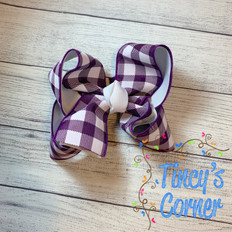 Purple Gingham White with White Boutique Hair Bow