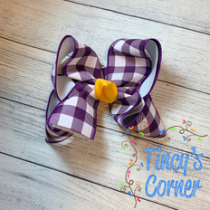Purple Gingham White with Yellow Gold Boutique Hair Bow