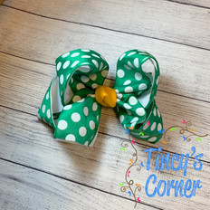 Green White Polka Dot with Yellow Gold Boutique Hair Bow