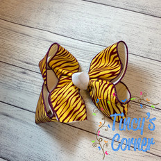 Purple and Gold Tiger Striped with White Boutique Hair Bow