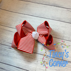 Red White Stripe with White Boutique Hair Bow