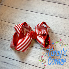 Red White Stripe with Red Boutique Hair Bow