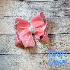Pink Moonstitch with White Boutique Hair Bow