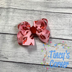 Pink with Red Lips Boutique Hair Bow
