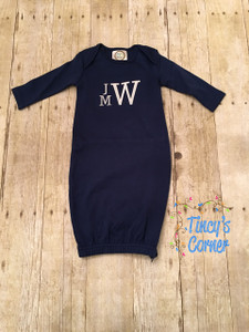 Unisex LS Infant Gown Navy with Stacked Monogram - Three Initials