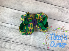 Mardi Gras Jester Boutique Hair Bow
