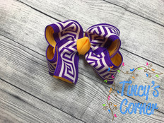 Greek Purple and Gold Boutique Hair Bow