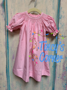 Infant Girl's Beaded Smocked Lt. Pink Dress