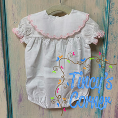 Infant Girl's Embroidered Edge Bubble w/Monogram Bib