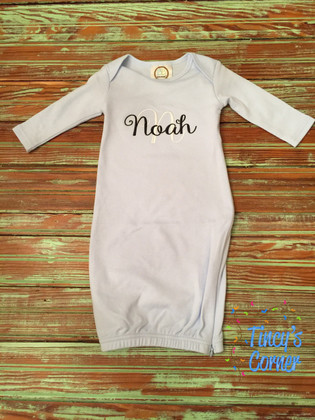 Unisex LS Infant Gown Lt. Blue