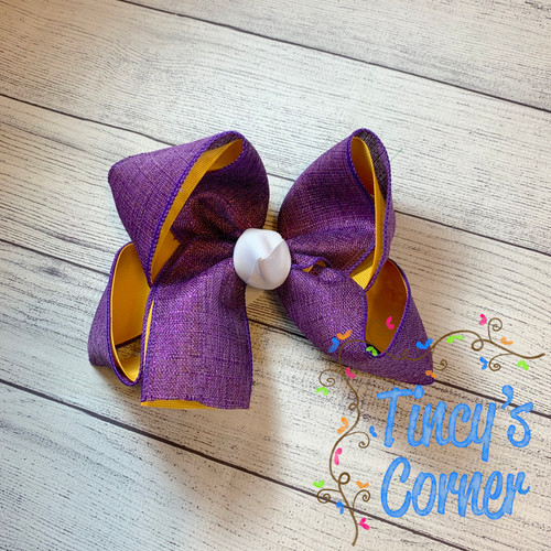 Purple Gold Metallic with White Boutique Hair Bow