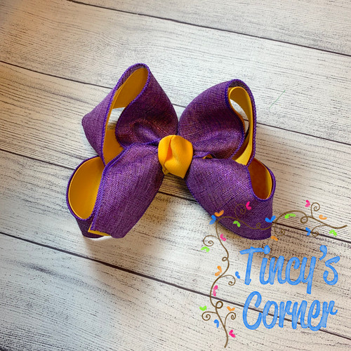 Purple Metallic Yellow Gold with Yellow Gold Boutique Hair Bow