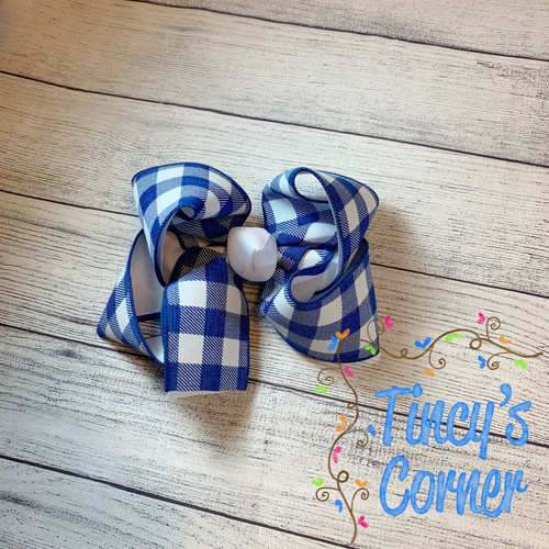 Royal Gingham White with White Boutique Hair Bow