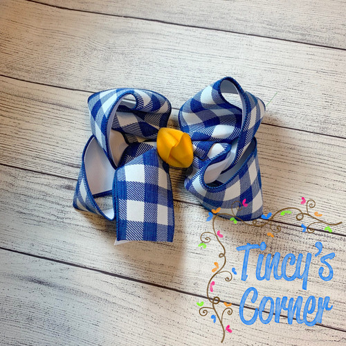 Royal Gingham White with Yellow Gold Boutique Hair Bow