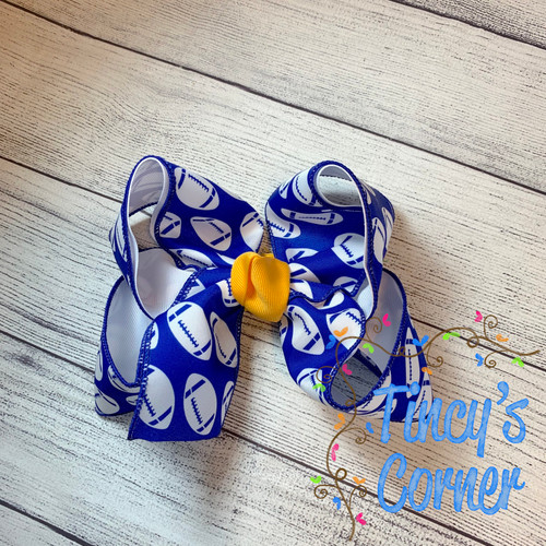 Royal White Footballs with Yellow Gold Boutique Hair Bow
