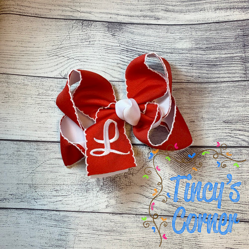 Red Moonstitch with White Boutique Hair Bow