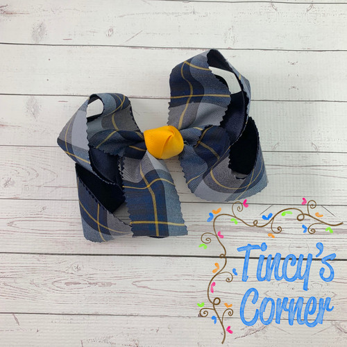 Navy and Yellow Gold Plaid with Yellow Gold Boutique Hair Bow