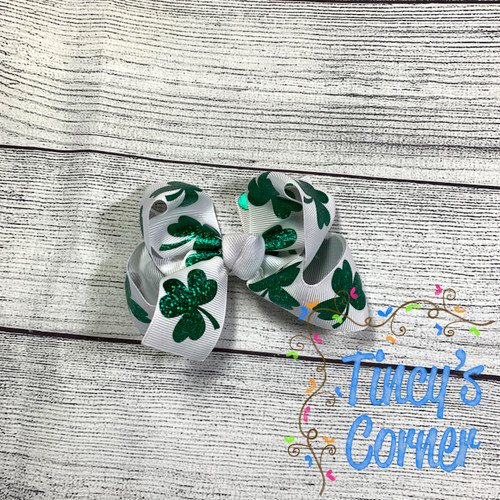 St. Patrick's Day Shamrock with White Boutique Hair Bow