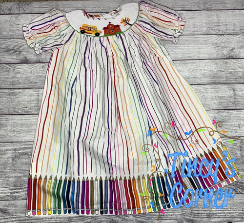 School Colors Smocked Dress